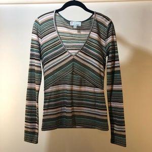 M by Missoni Striped V-Neck Sweater